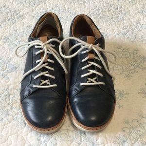 Navy Blue Leather Tennis Shoes. EUC